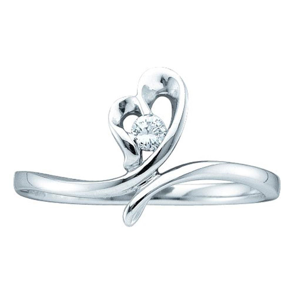 14kt White Gold Womens Round Diamond Heart Promise Ring 1/20 Cttw