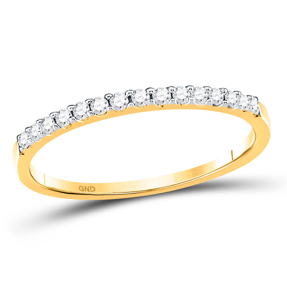 14kt Yellow Gold Womens Round Diamond Wedding Single Row Band 1/6 Cttw