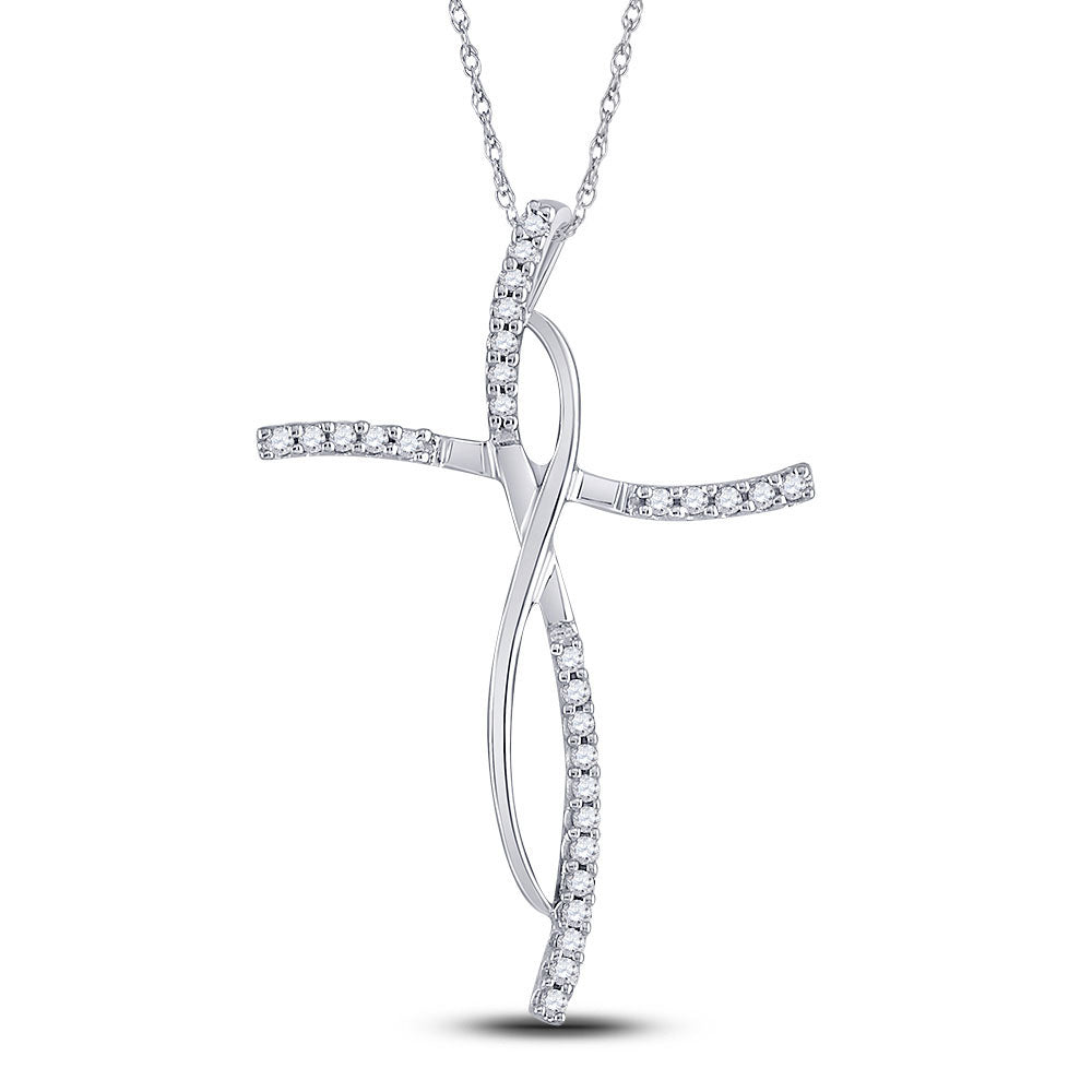 14kt White Gold Womens Round Diamond Cross Pendant 1/10 Cttw