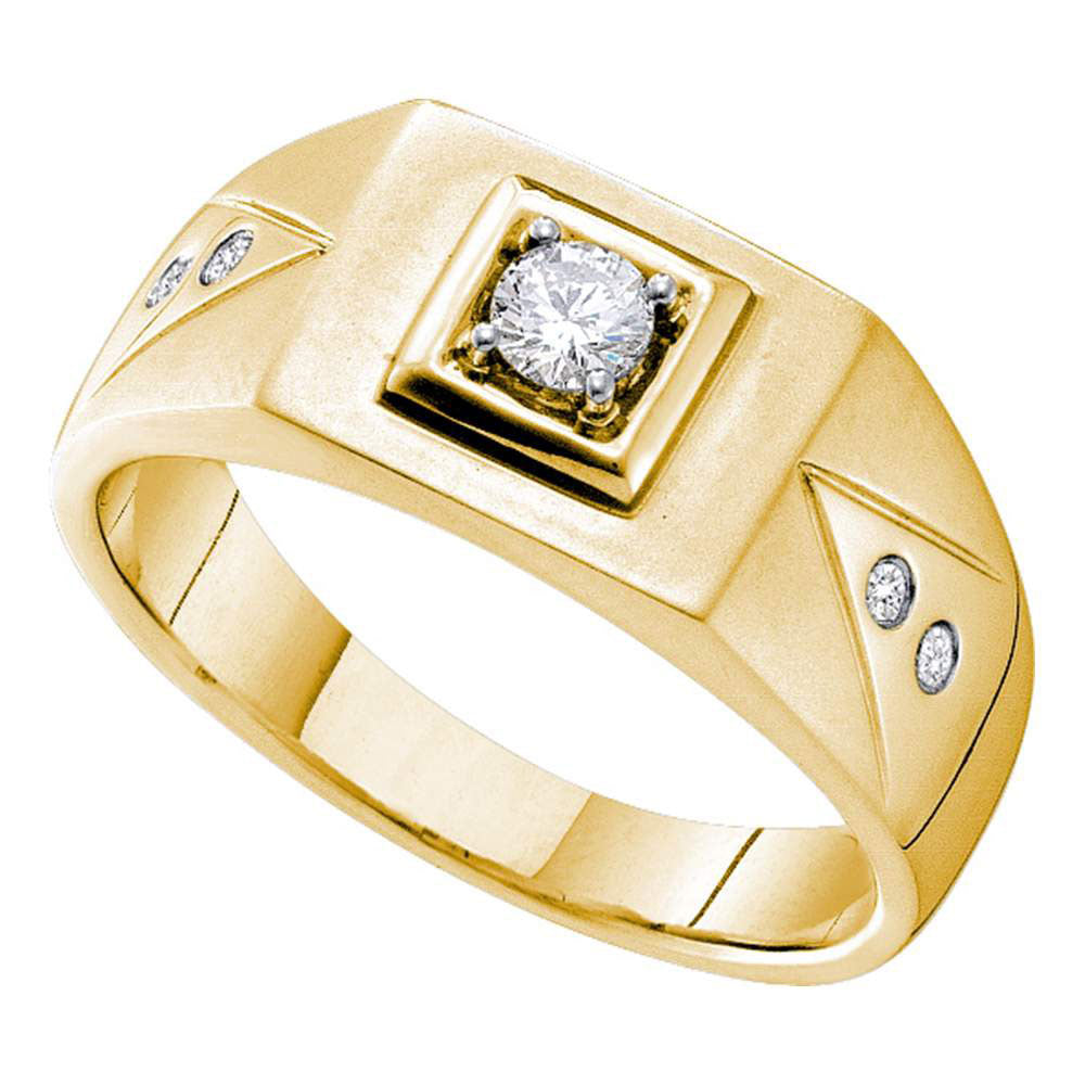 14kt Yellow Gold Mens Round Diamond Solitaire Square Wedding Ring 1/4 Cttw