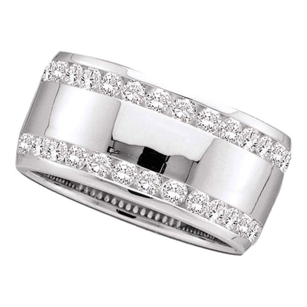14kt White Gold Womens Round Channel-set Diamond Double Row Wedding Band 1 Cttw