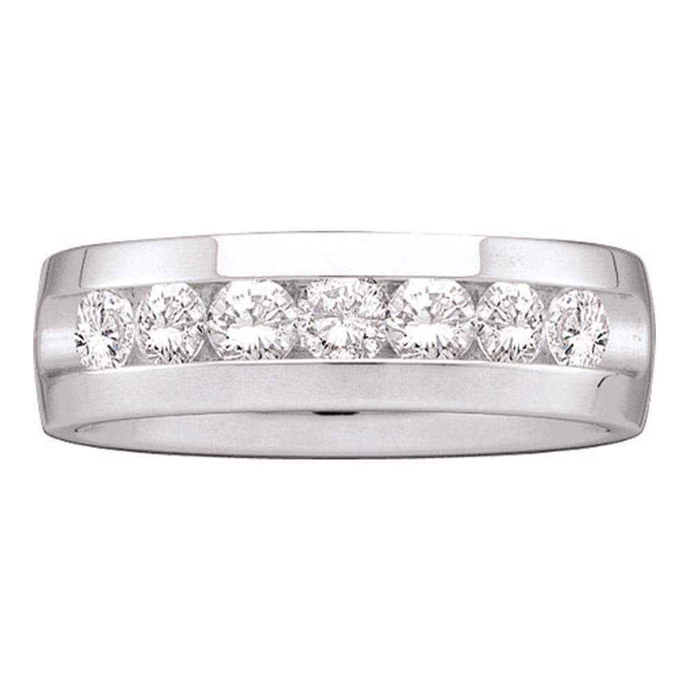 14kt White Gold Mens Machine Set Round Diamond Wedding Channel Band Ring 1-1/2 Cttw
