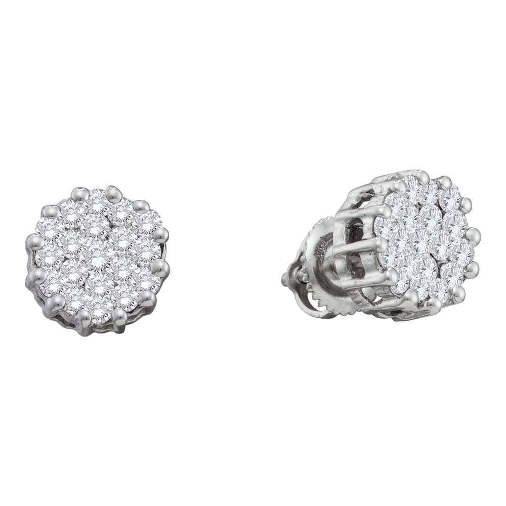 14kt White Gold Womens Round Diamond Flower Cluster Earrings 1 Cttw