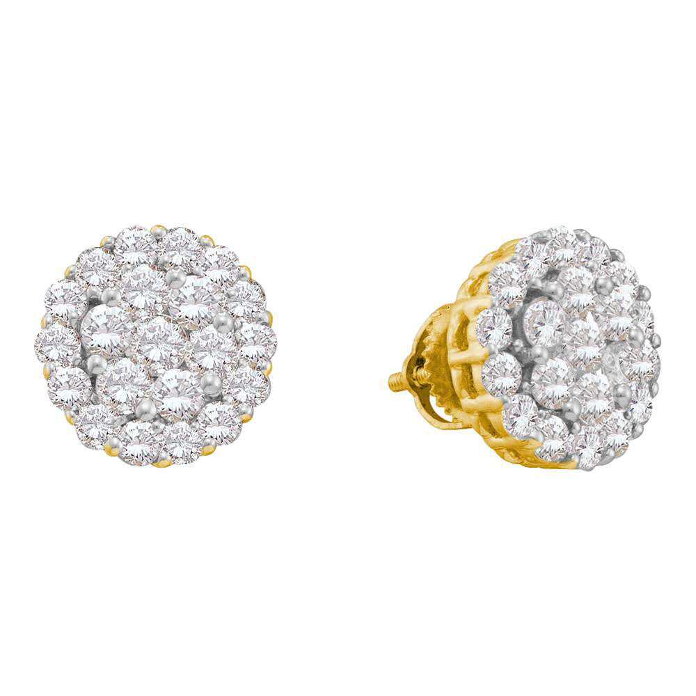 14kt Yellow Gold Womens Round Diamond Flower Cluster Earrings 2 Cttw