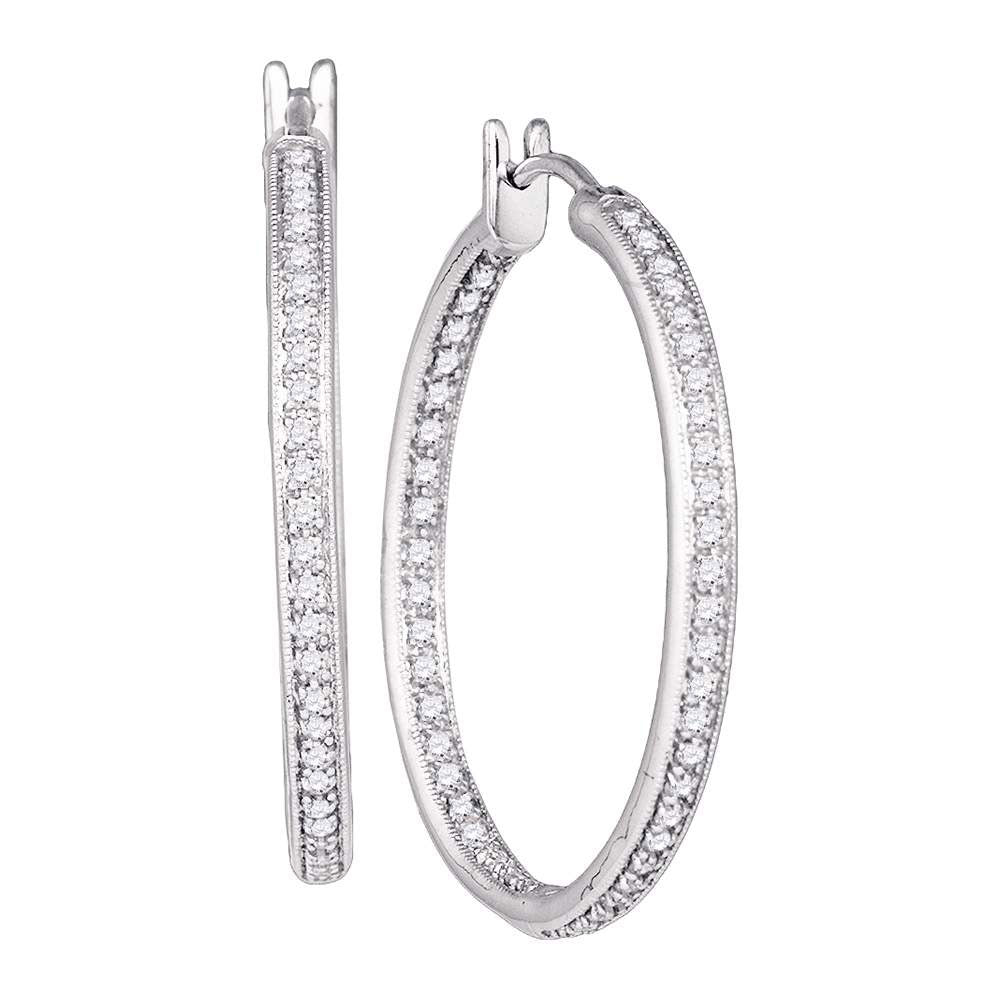 14kt White Gold Womens Round Diamond Inside Outside Hoop Earrings 1 Cttw