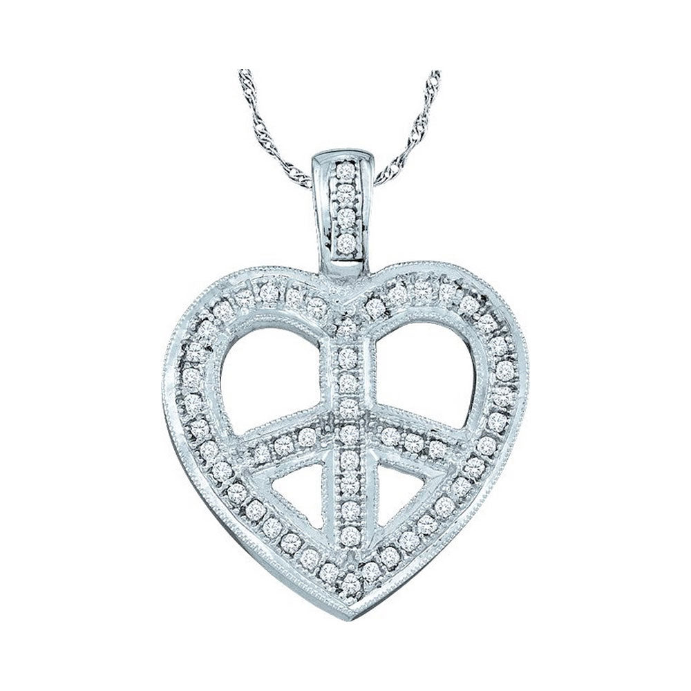 10kt White Gold Womens Round Diamond Heart Peace Sign Pendant 1/6 Cttw