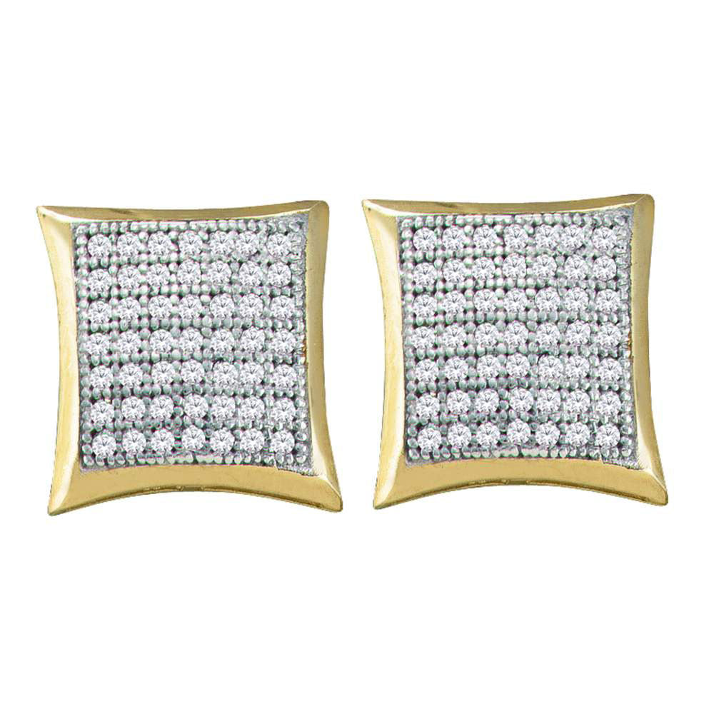 10kt Yellow Gold Womens Round Diamond Kite Square Earrings 1/3 Cttw