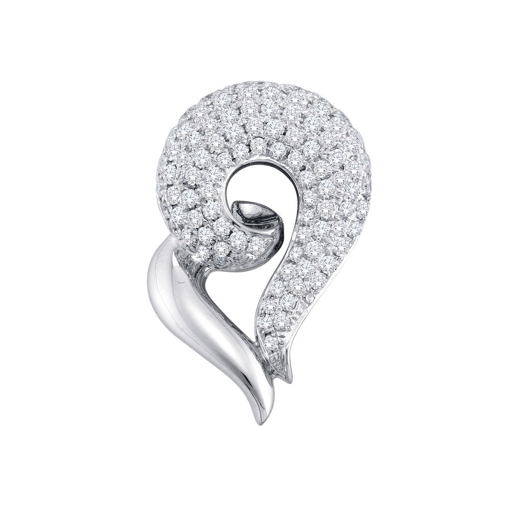 14kt White Gold Womens Round Diamond Curled Heart Pendant 3/4 Cttw