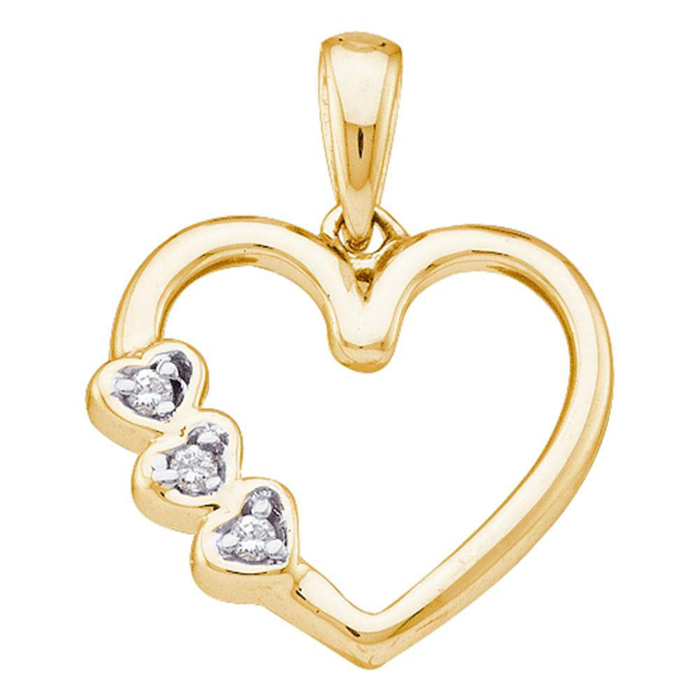 10kt Yellow Gold Womens Round Diamond Triple Heart Pendant .03 Cttw