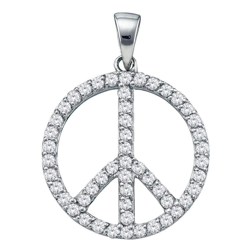 14kt White Gold Womens Round Diamond Peace Sign Circle Pendant 3/4 Cttw