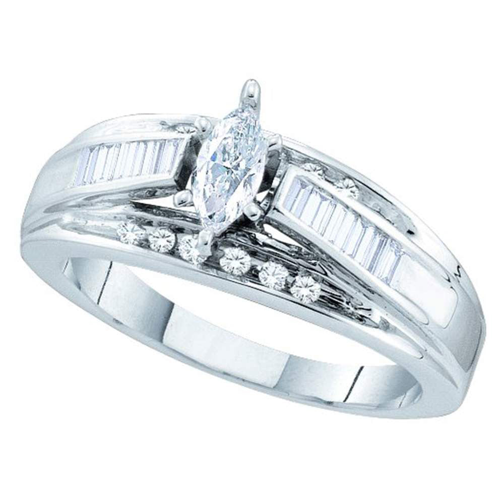 14kt White Gold Marquise Diamond Solitaire Bridal Wedding Engagement Ring 1/2 Cttw