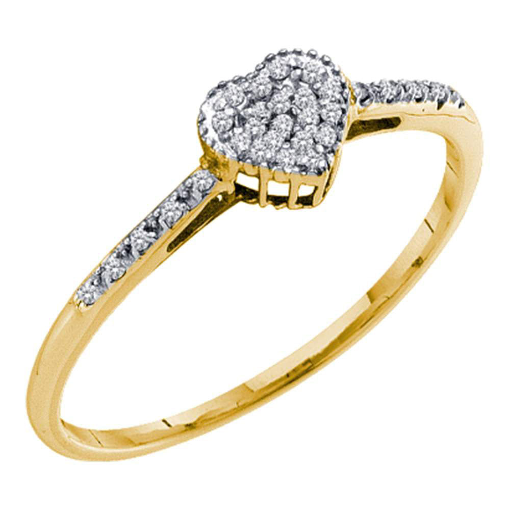 10kt Yellow Gold Womens Round Diamond Slender Heart Ring 1/20 Cttw
