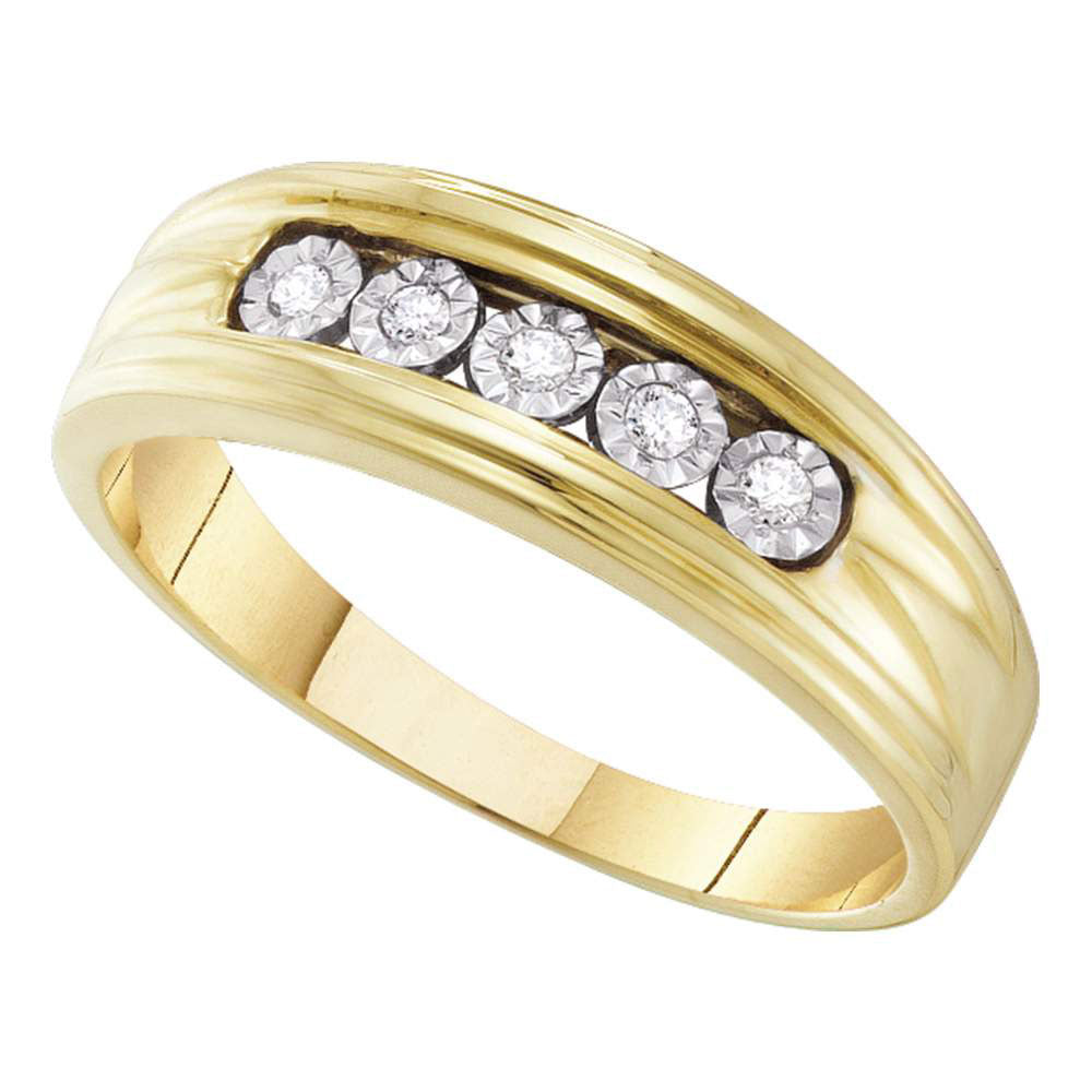 10kt Yellow Gold Mens Round Diamond Wedding 5-Stone Band Ring 1/10 Cttw