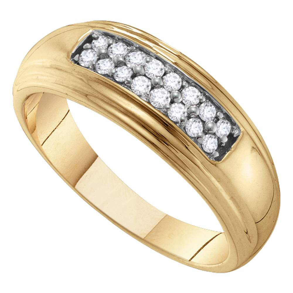 10kt Yellow Gold Mens Round Diamond Double Row Wedding Band Ring 1/4 Cttw