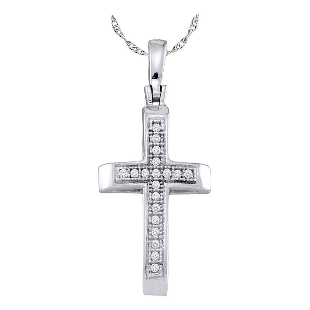 Sterling Silver Womens Round Diamond Cross Pendant 1/20 Cttw