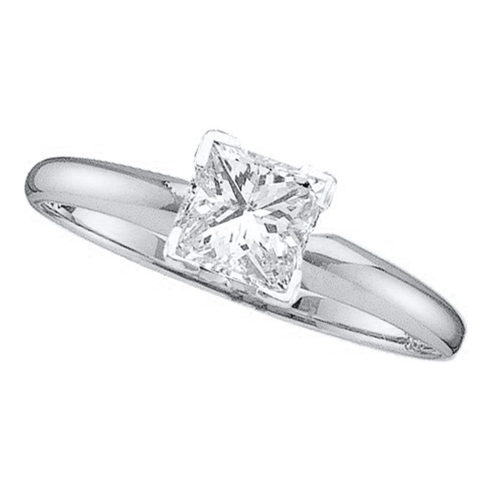 14kt White Gold Womens Princess Diamond Solitaire Bridal Wedding Engagement Ring 1/5 Cttw