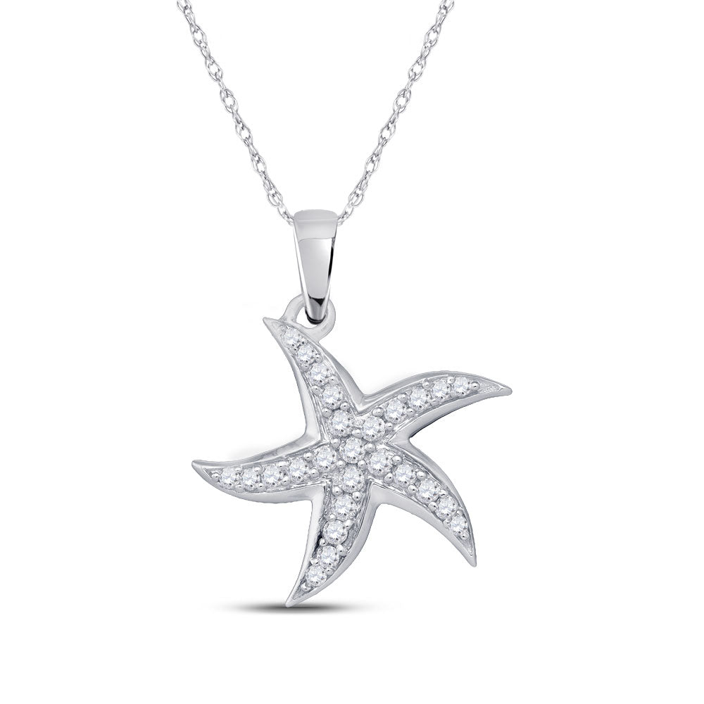 10kt White Gold Womens Round Diamond Starfish Nautical Pendant 1/4 Cttw