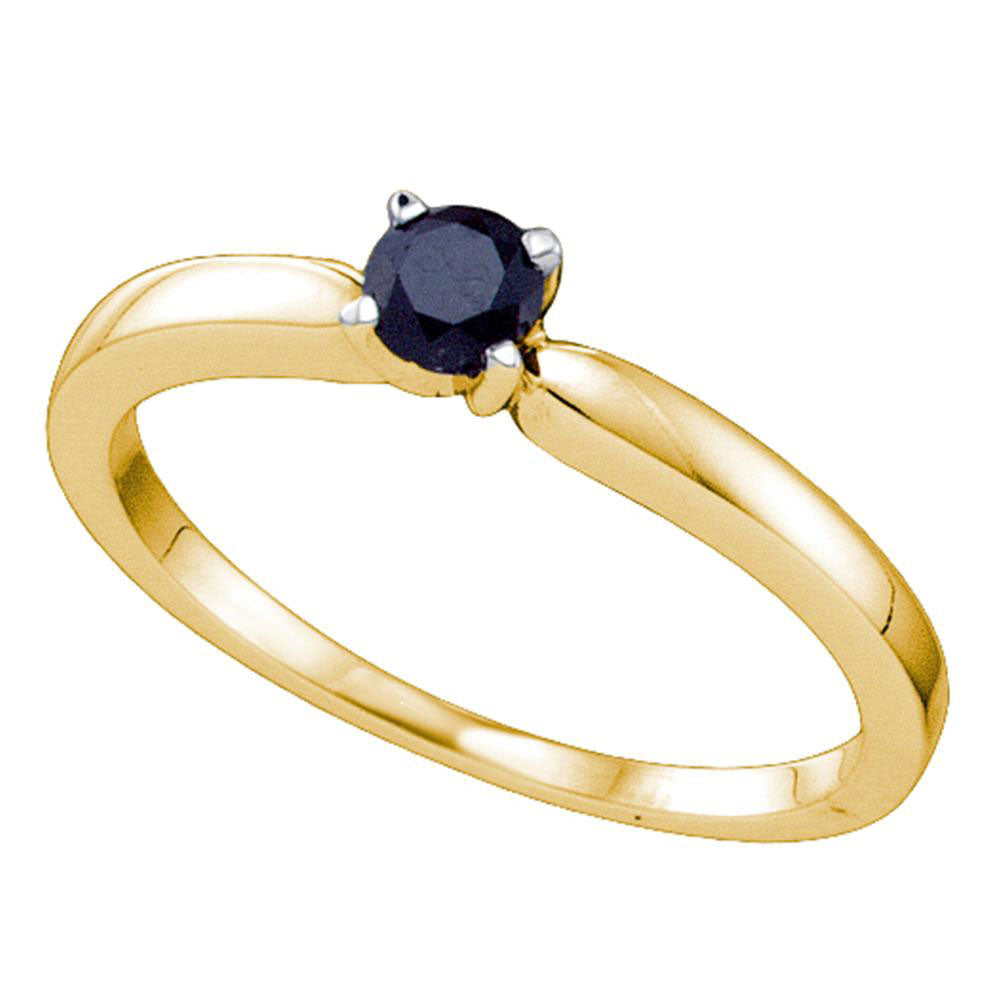 10kt Yellow Gold Round Black Color Enhanced Diamond Solitaire Bridal Engagement Ring 1/4 Ctw