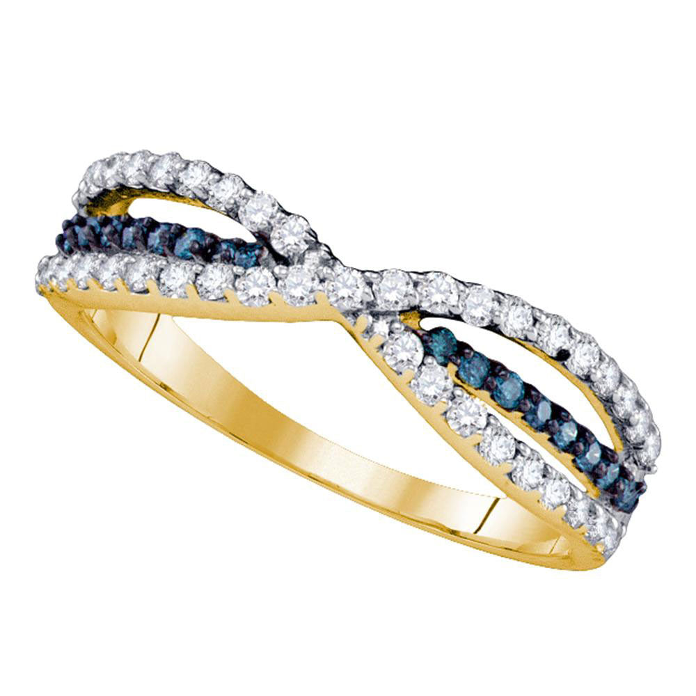 14kt Yellow Gold Womens Round Blue Color Enhanced Diamond Band Ring 1/2 Cttw