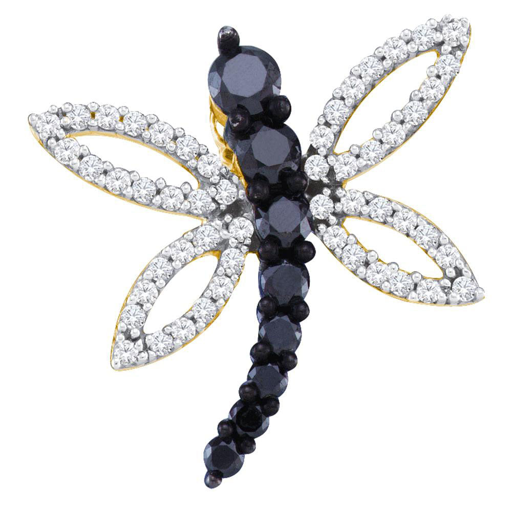 10kt Yellow Gold Womens Round Black Color Enhanced Diamond Dragonfly Pendant 1/2 Cttw