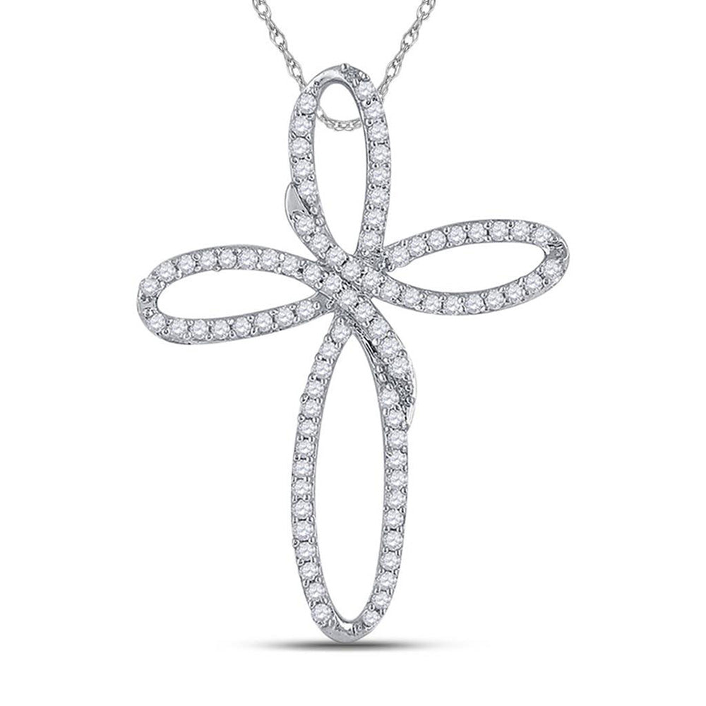 10kt White Gold Womens Round Diamond Cross Pendant 1/4 Cttw