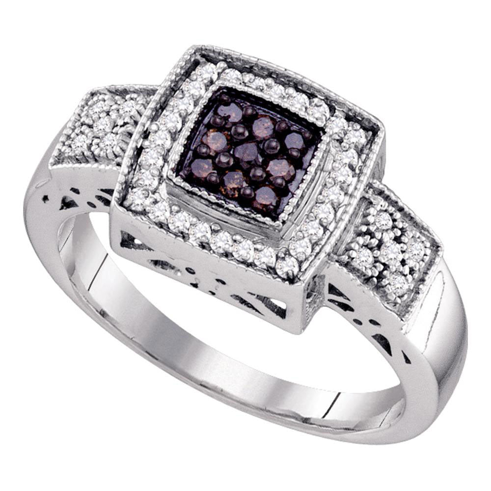 10k White Gold Brown Round Diamond Womens Square-shape Cocktail Cluster Ring 1/3 Cttw