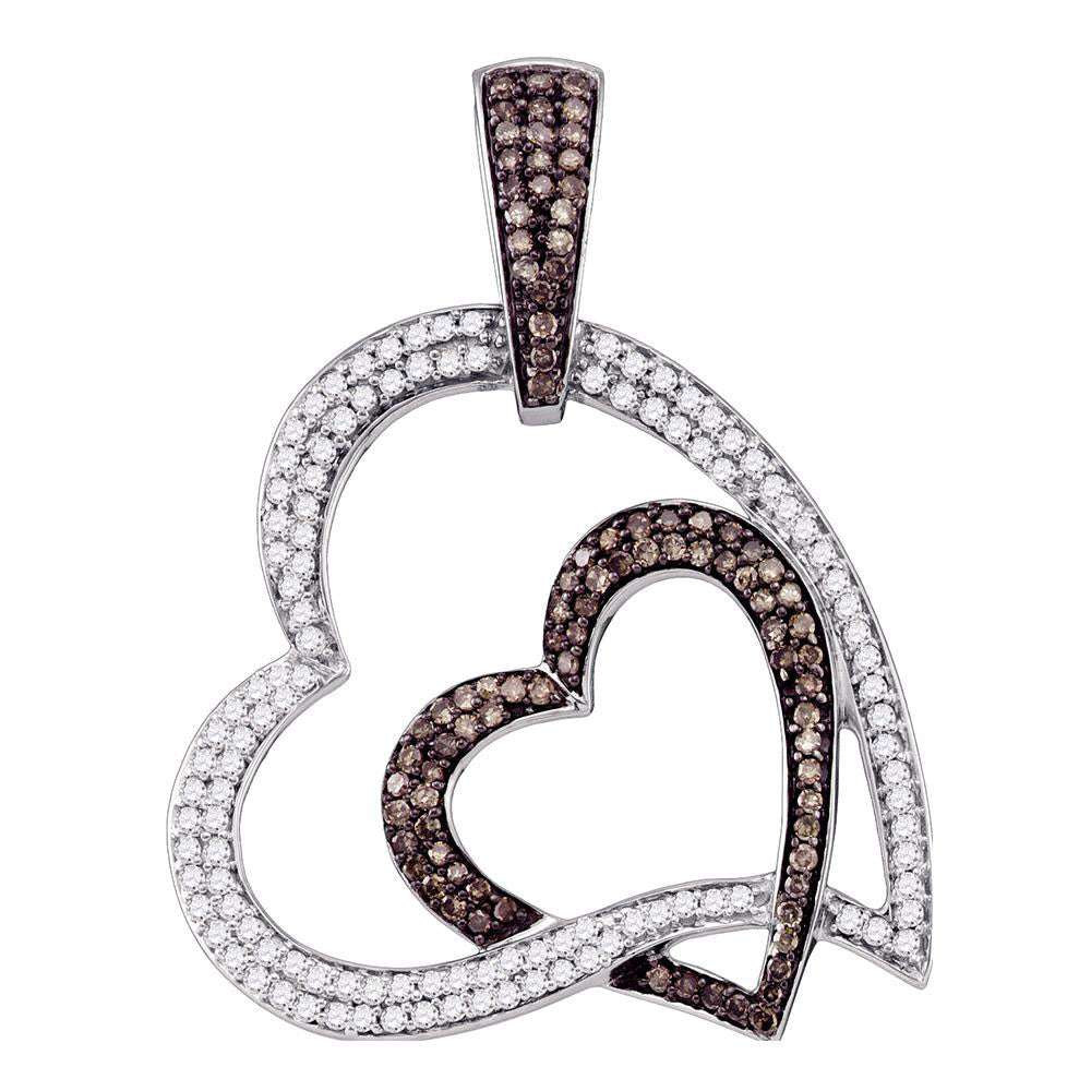 10kt White Gold Womens Round Brown Diamond Heart Pendant 1 Cttw
