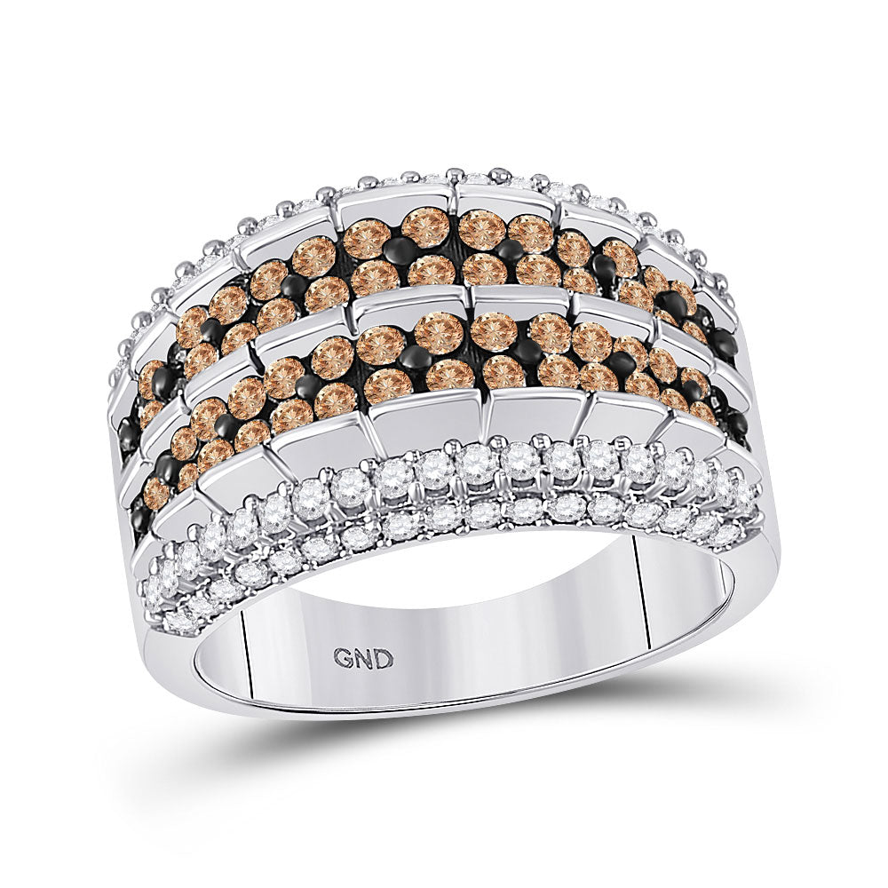10kt White Gold Womens Round Brown Diamond Band Ring 1-5/8 Cttw