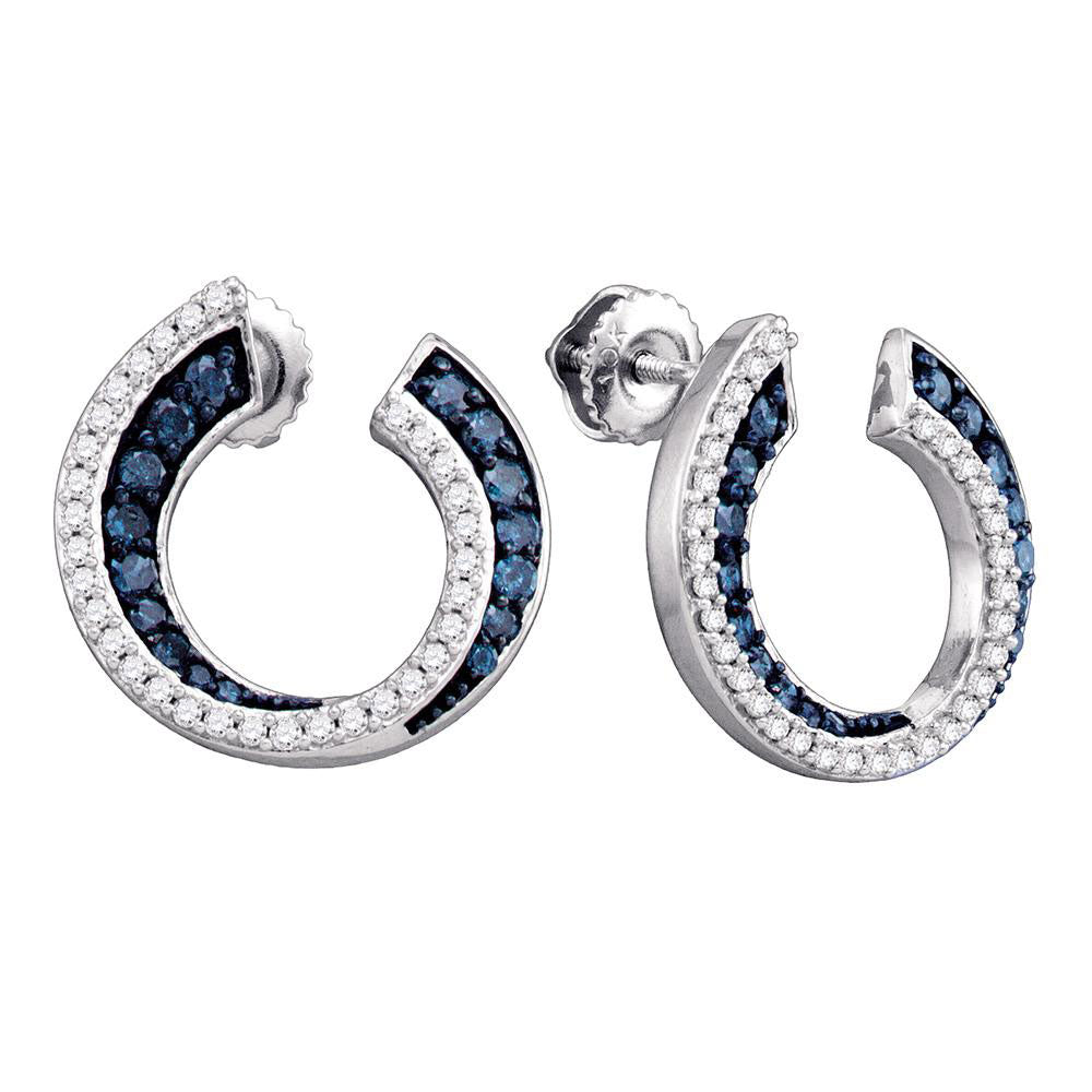 10kt White Gold Womens Round Blue Color Enhanced Diamond Circle Earrings 3/4 Cttw