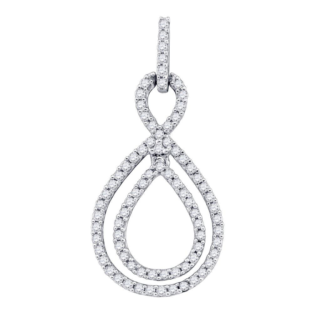 10kt White Gold Womens Round Diamond Teardrop Pendant 5/8 Cttw