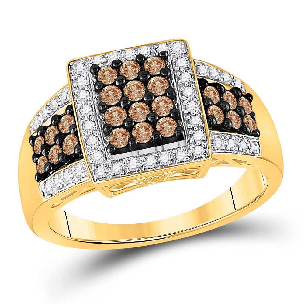 10kt Yellow Gold Womens Round Brown Diamond Square Cluster Ring 5/8 Cttw