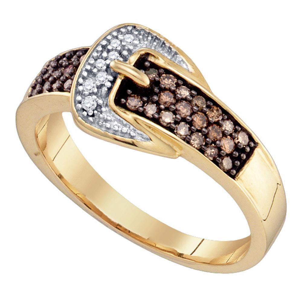 10k Yellow Gold Brown Diamond Belt Buckle Band Ring 1/4 Cttw