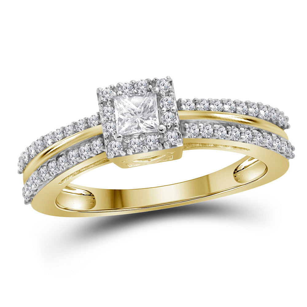 14kt Yellow Gold Princess Diamond Princess Bridal Wedding Engagement Ring 1/2 Cttw