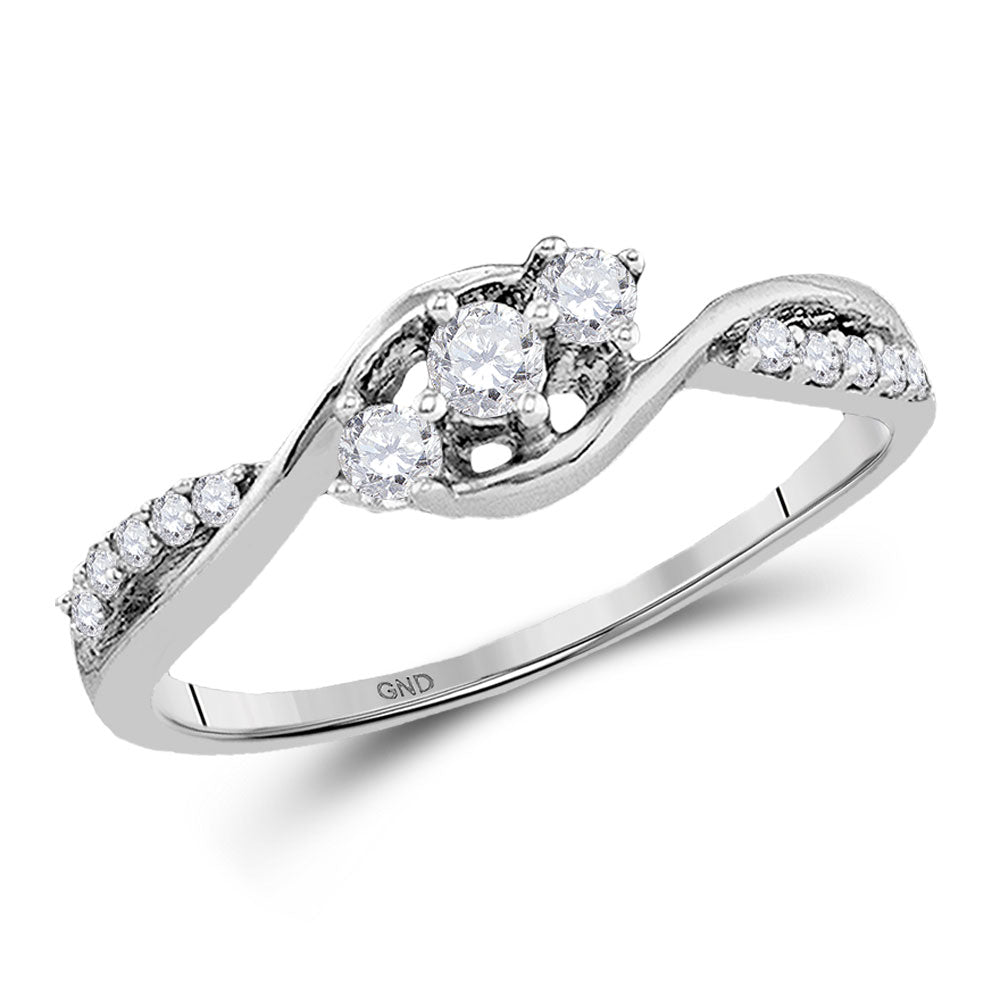 10kt White Gold Womens Round Diamond 3-stone Promise Ring 1/5 Cttw