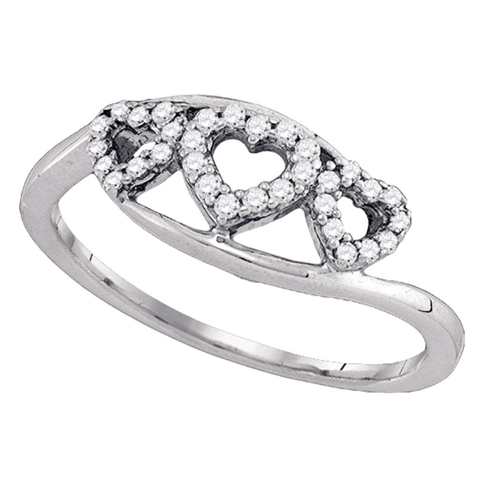 10kt White Gold Womens Round Diamond Triple Heart Ring 1/5 Cttw