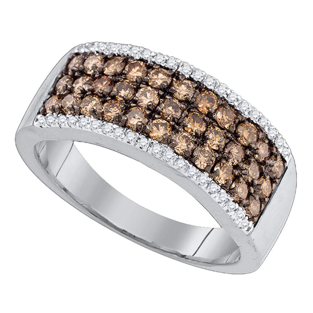 14kt White Gold Womens Round Brown Diamond Band Ring 1 Cttw