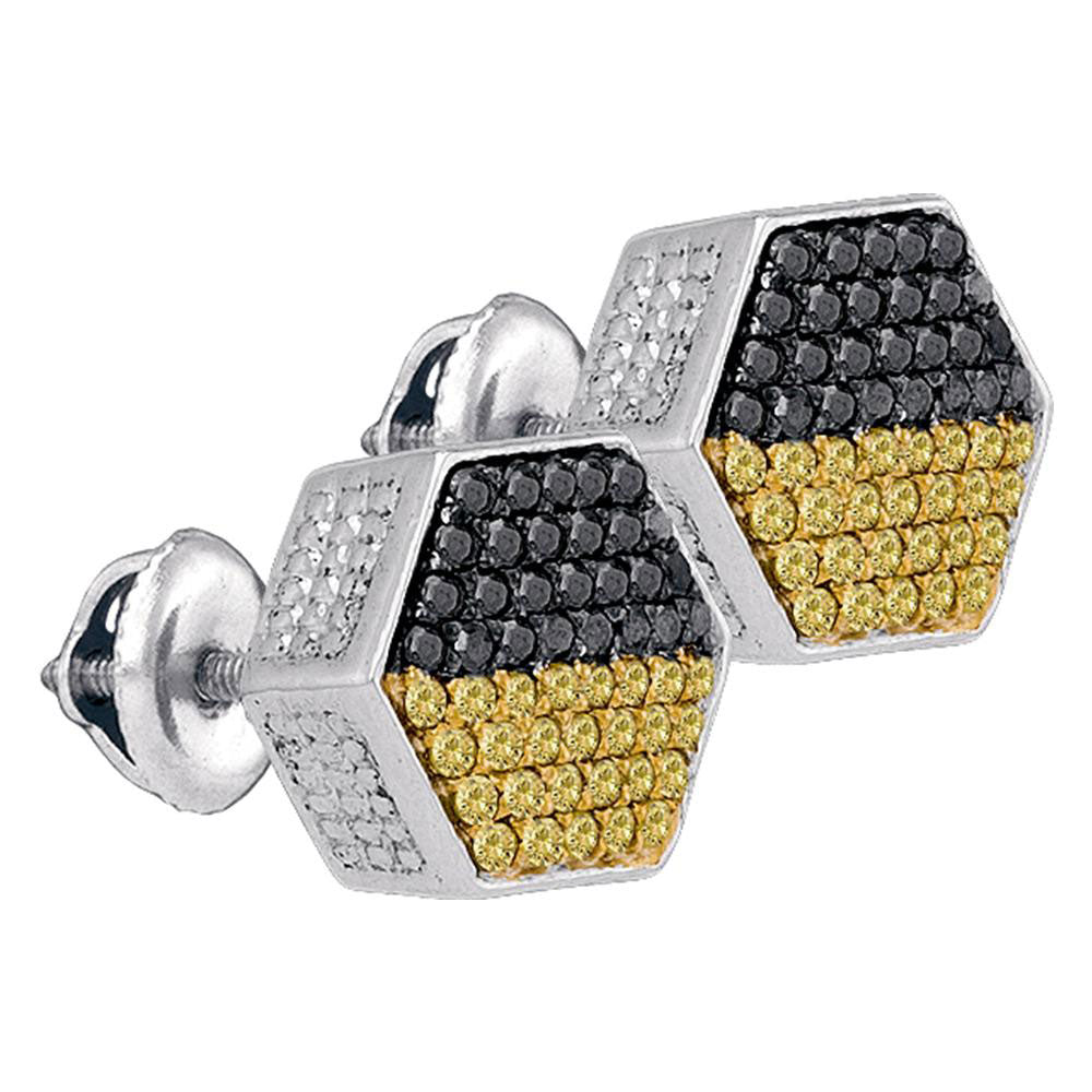 Sterling Silver Mens Round Yellow Black Color Enhanced Diamond Hexagon Earrings 3/4 Cttw