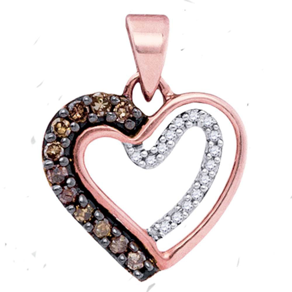 10kt Rose Gold Womens Round Brown Diamond Heart Pendant 1/5 Cttw