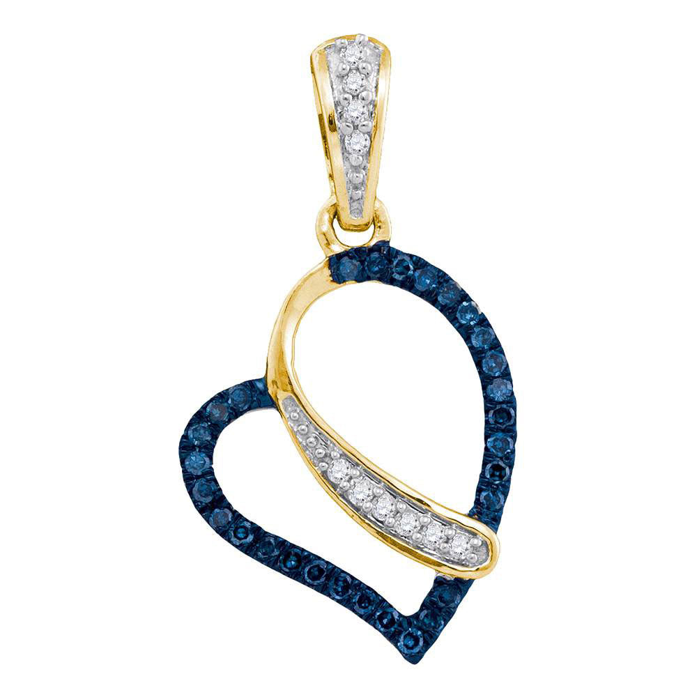 10kt Yellow Gold Womens Round Blue Color Enhanced Diamond Heart Pendant 1/8 Cttw