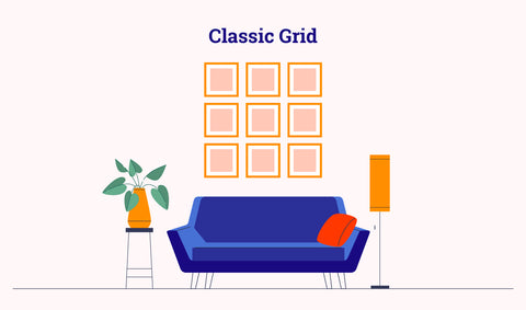 gallery wall - grid layout