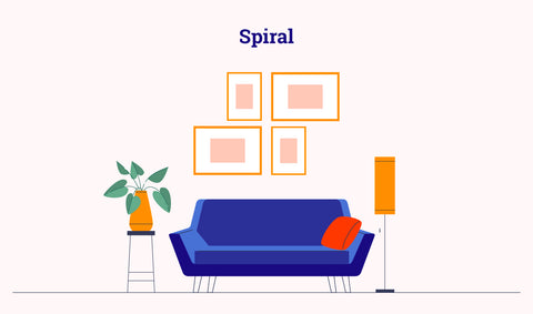 gallery wall - spiral layout