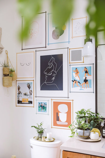 Gallery wall using washi tapes as frames