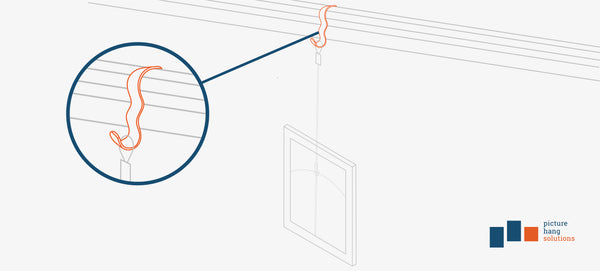 illustration of a wide picture rail hook