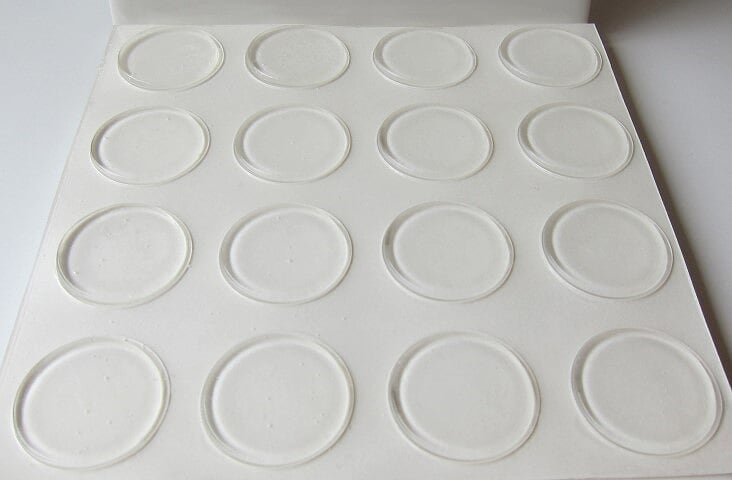 "1.23"" Diameter .10"" Height Clear Adhesive Rubber Feet"
