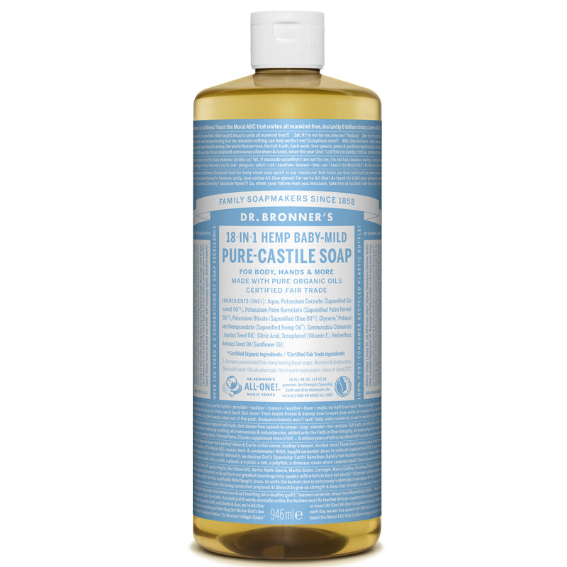 Dr Bronner's Baby Mild Pure-Castile Liquid Soap 946ml