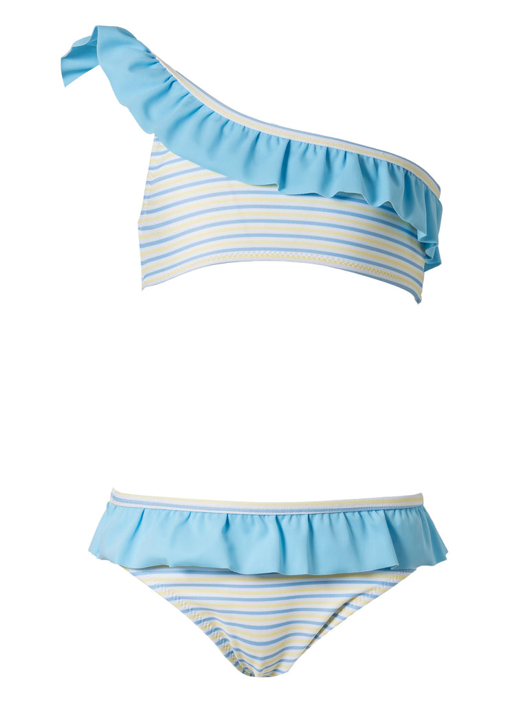 BLUE AND YELLOW STRIPES ONE SHOULDER BIKINI