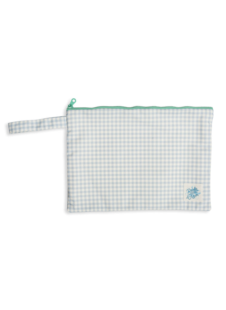 SKY GINGHAM POUCH LARGE