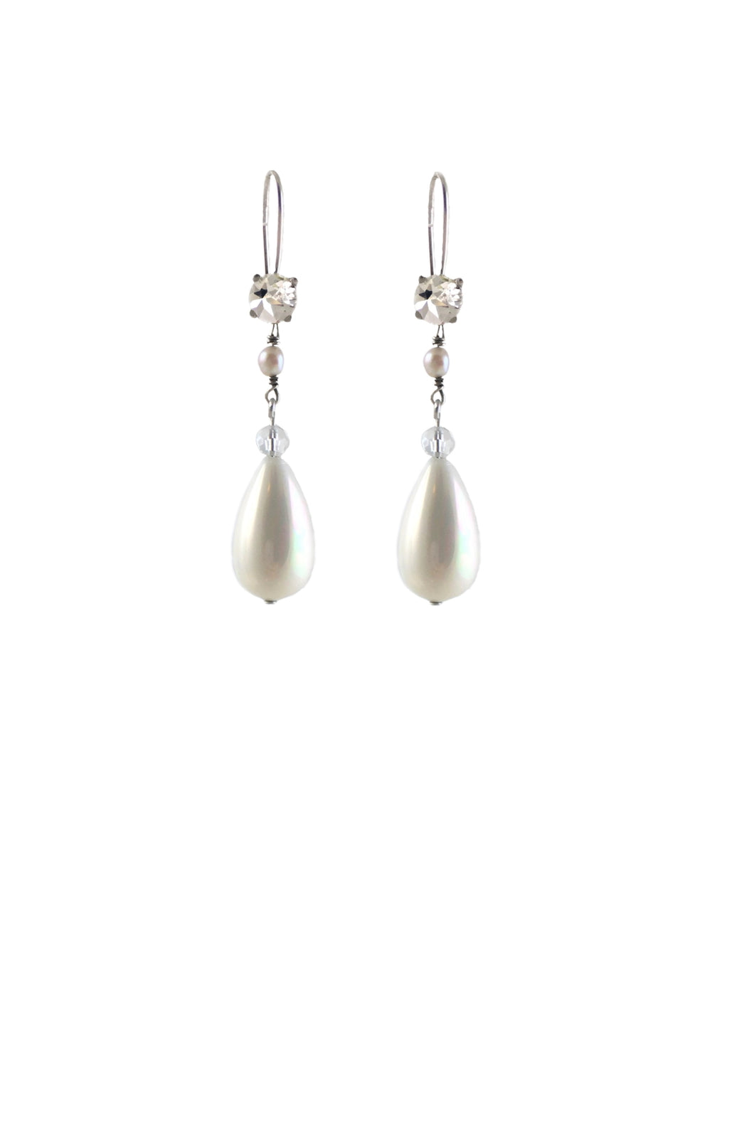 Ada Pearls and Crystal silver earrings