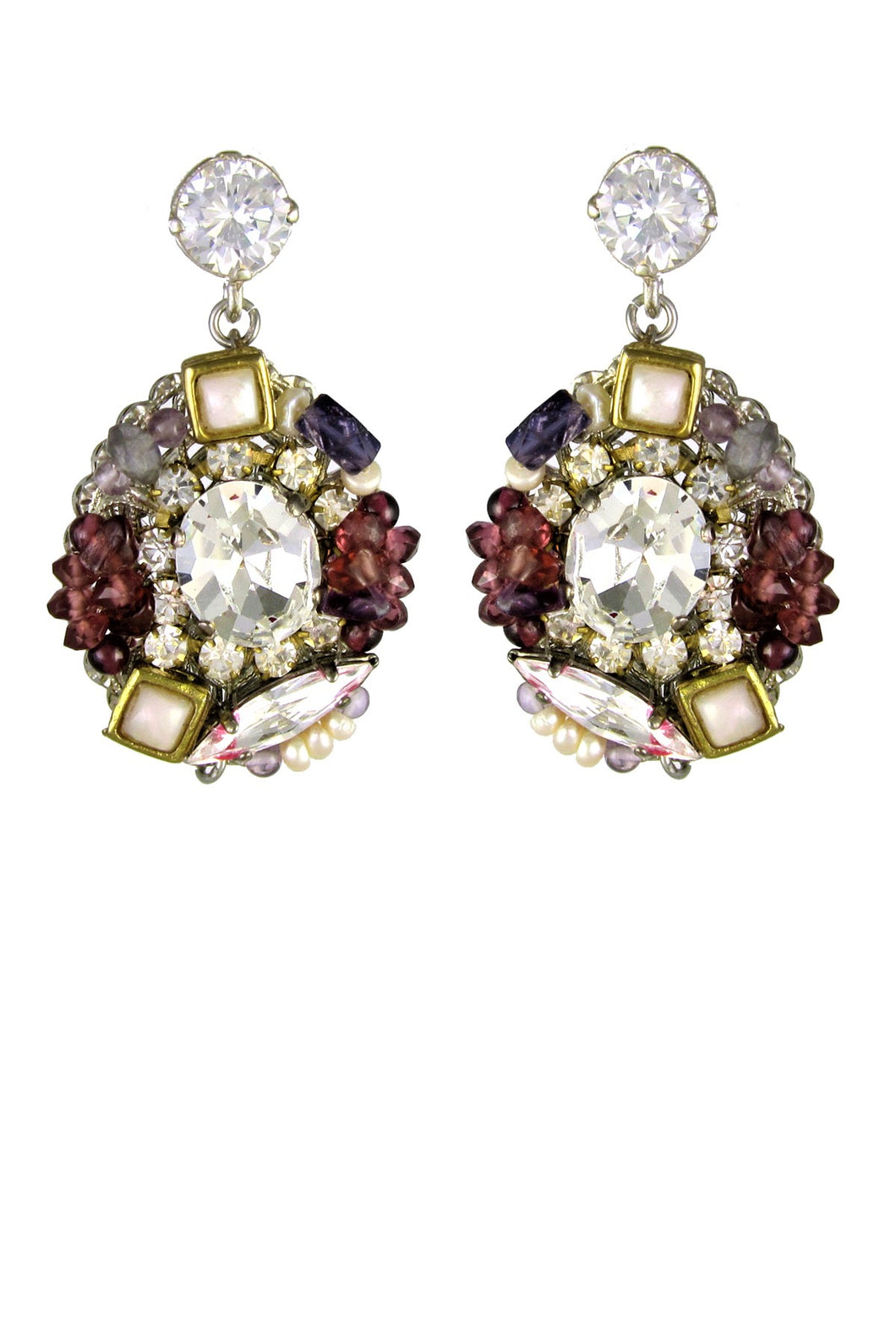 SALE - Claire Swarovski Crystals, Semiprecious Stones and  Pearl Earrings