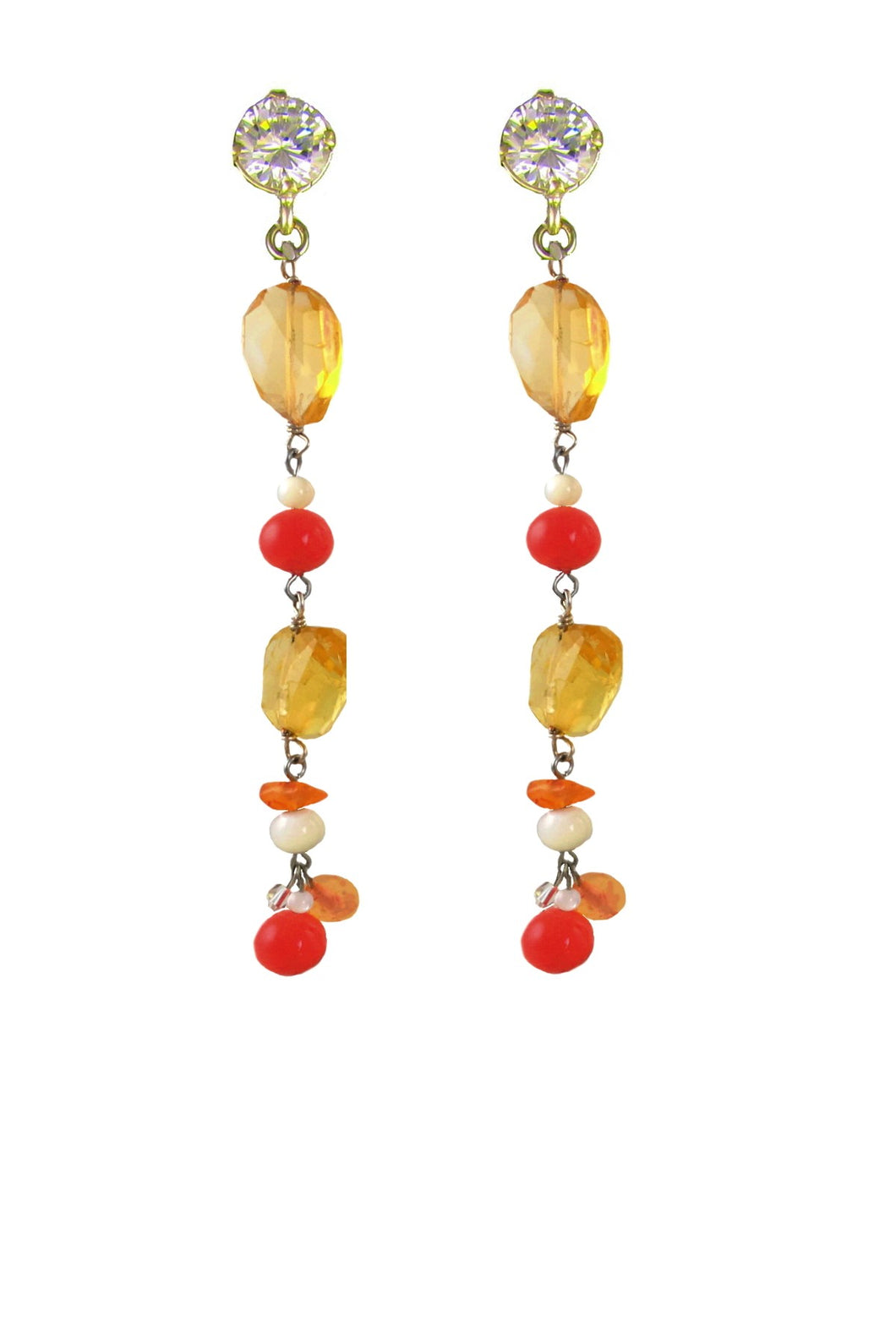 SALE - Citrine Diana Agate Earrings